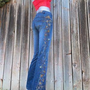 Vintage Embroidered Boho Hippie Jeans